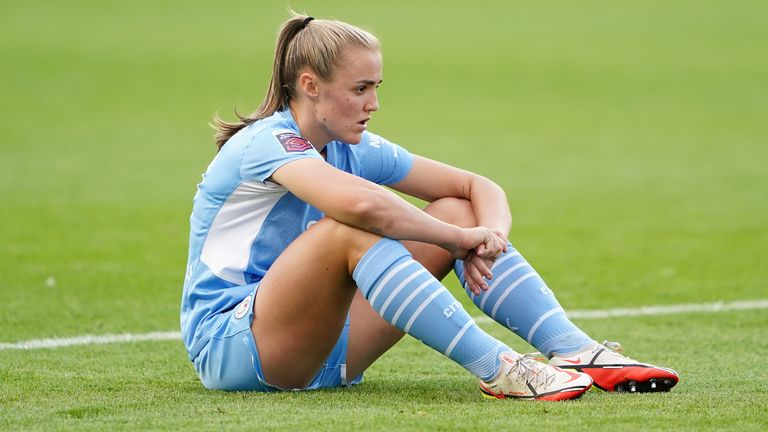 Georgia Stanway sits deflated after Man City slip to a shock 2-0 defeat against West Ham in the WSL
