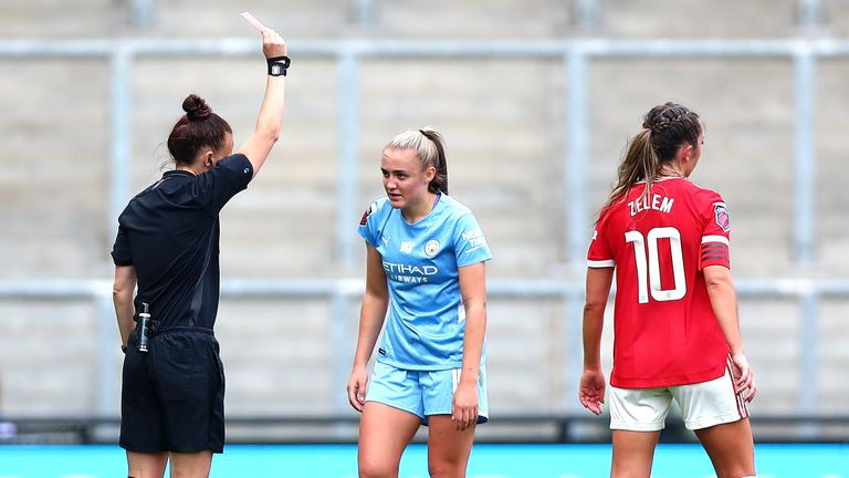 Man City's Georgia Stanway is shown a red card during the WSL match against Man Utd