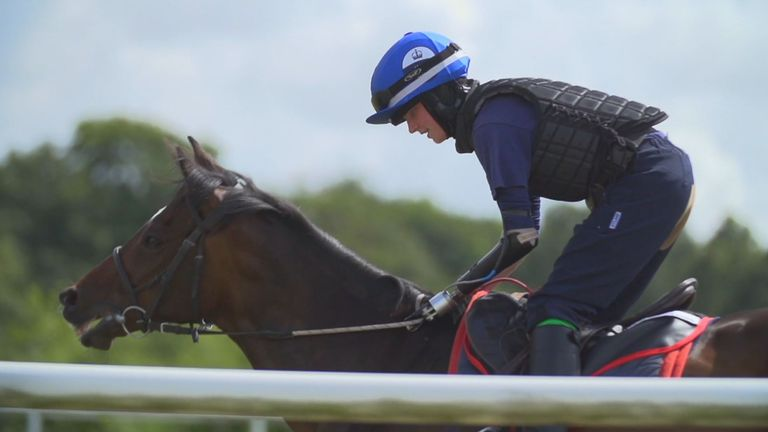 Enright has completed an 18-week course at the British Racing School and is now as work rider with trainer Lawney Hill. Credit: British Racing School