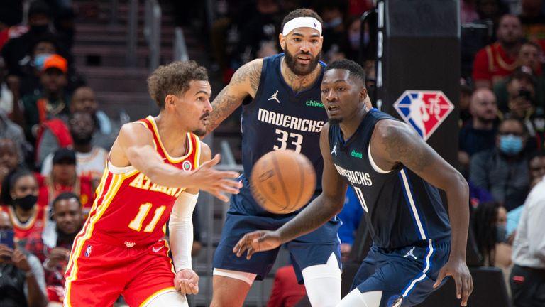 Atlanta Hawks' Trae Young  passes the ball against the Dallas Mavericks