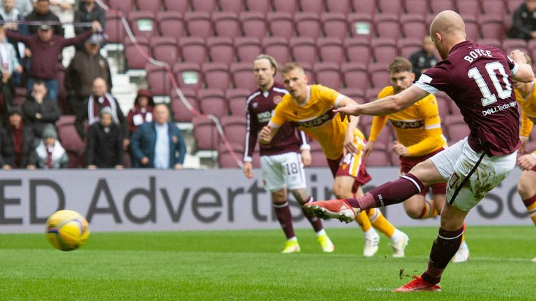 EDINBURGH, SCOTLAND - OCTOBER 02: Hearts' Liam Boyce makes it 1-0 from the penalty spot during the cinch Premiership match between Heart of Midlothian and Motherwell at Tynecastle on October 02, 2021, in Edinburgh, Scotland. (Photo by Craig Foy / SNS Group)