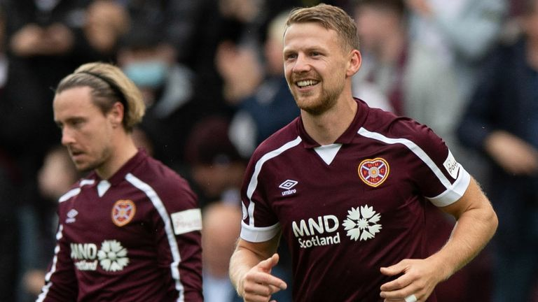 EDINBURGH, SCOTLAND - OCTOBER 02:  Hearts' Stephen Kingsley celebrates making it 2-0 with teammates during the cinch Premiership match between Heart of Midlothian and Motherwell at Tynecastle on October 02, 2021, in Edinburgh, Scotland. (Photo by Sammy Turner / SNS Group)