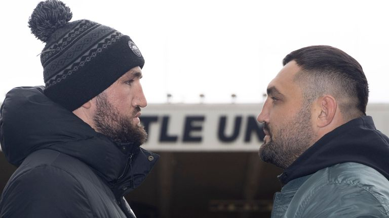 CHAMPIONSHIP BOXING PRESS CONFERENCE.ST,JAMES...S PARK,.NEWCASTLE.PIC;LAWRENCE LUSTIG.HUGHIE FURY AND CHRISTIAN HAMMER COME FACE TO FACE BEFORE THEY MEET ON THE BOXXER PROMOTION AT THE UTILITA ARENA ON SATURDAY NIGHT (16-10-21).