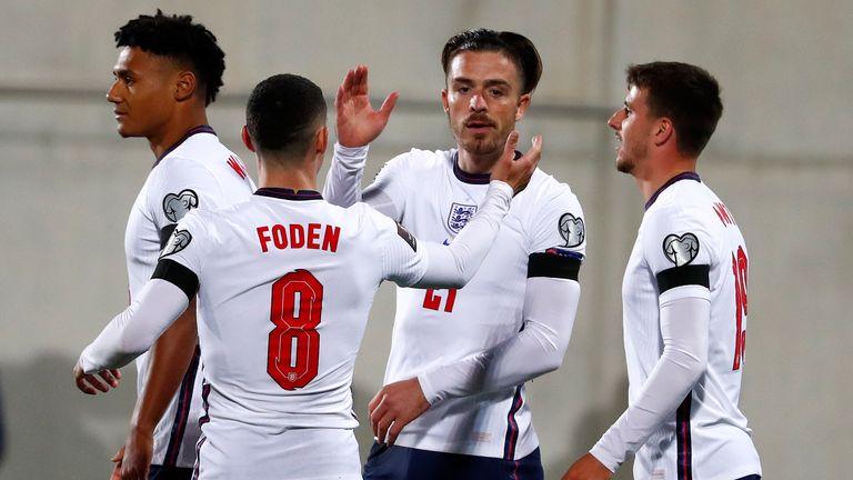 Jack Grealish celebrates after scoring England's fifth