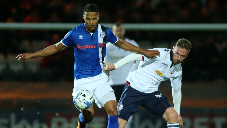 Joe Thompson in action for Rochdale against Bolton