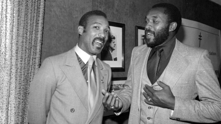 John Carlos (left) and Tommie Smith in 1982 in a rare appearance together since their protest in 1968