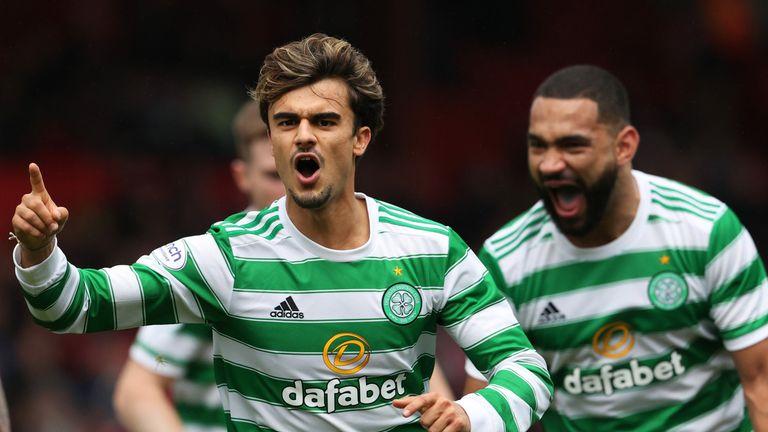 Jota celebrates scoring the winner for Celtic as they beat Aberdeen 2-1