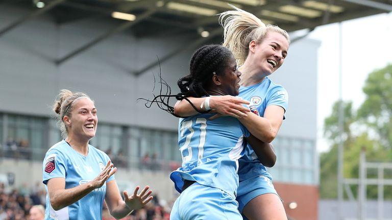 Man City's Khadija Shaw celebrates with team-mate Lauren Hemp after scoring against Man Utd