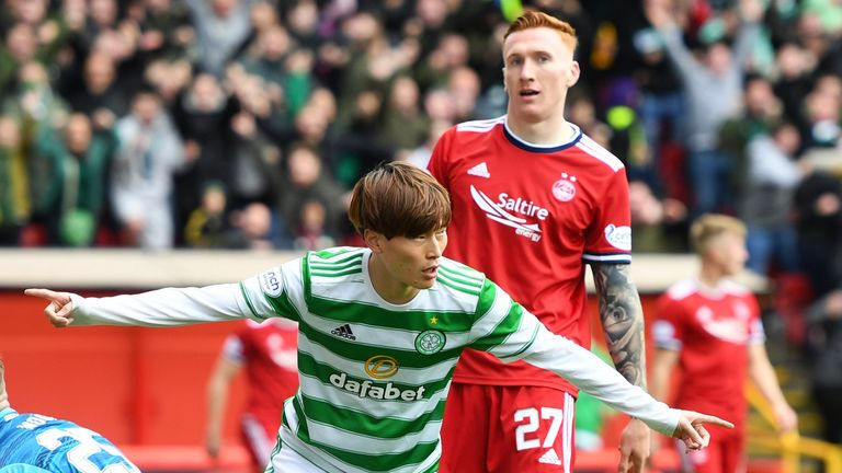 ABERDEEN, SCOTLAND - OCTOBER 03: Celtic's  Kyogo Furuhashi celebrates after scoring to make it 1-0 . during the cinch Premiership match between Aberdeen and Celtic at Pittodrie Stadium on October 03, 2021, in Aberdeen, Scotland.  (Photo by Ross MacDonald / SNS Group)