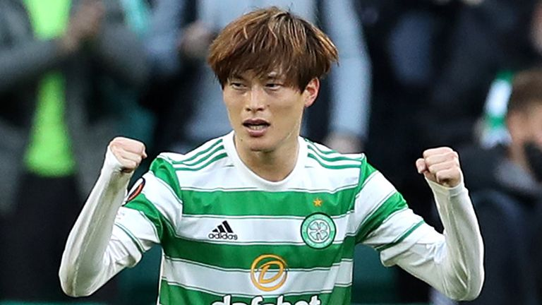 Kyogo Furuhashi celebrates after scoring Celtic's first goal