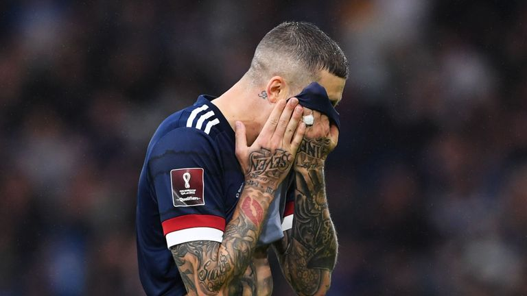 Scotland's Lyndon Dykes after missing a penalty