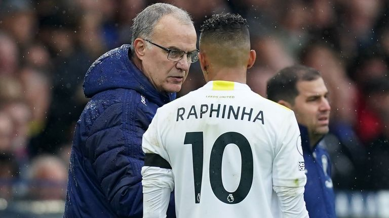 Leeds United manager Marcelo Bielsa speaks with Raphinha on the touchline during the Premier League match at Elland Road, Leeds. Picture date: Saturday October 2, 2021.
