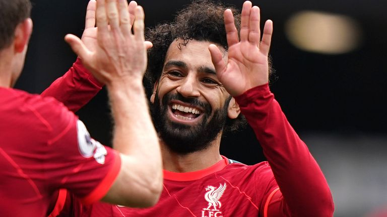 Liverpool forward Mohamed Salah celebrates scoring in a 5-0 win over Watford (PA)