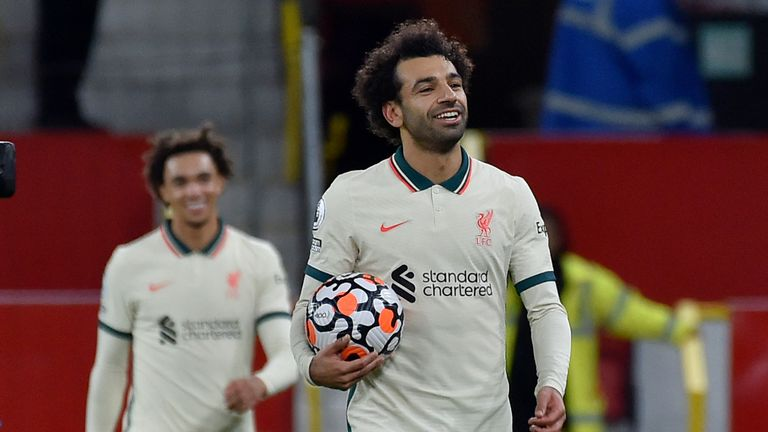 Salah is the second Liverpool player to score a hat-trick at Old Trafford