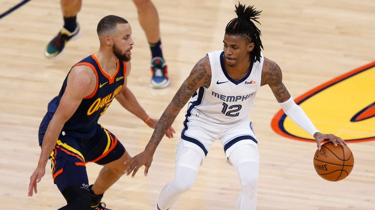 Steph Curry and Ja Morant will go head-to-head live on Sky Sports late on Thursday night