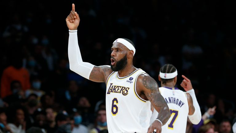 Los Angeles Lakers forward LeBron James (6) reacts to a call during the second half of an NBA basketball game against the Memphis Grizzlies in Los Angeles, Sunday, Oct. 24, 2021. The Lakers won 121-118.