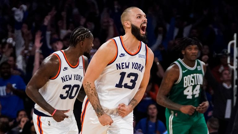 New York Knicks wing Evan Fournier celebrates against his former club the Boston Celtics after making the game-winning shot during the second period of overtime