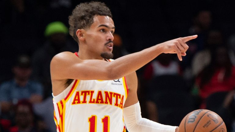 Atlanta Hawks guard Trae Young (11) is shown during the first half of an NBA basketball game against the Detroit Pistons on Monday, Oct. 25, 2021, in Atlanta.
