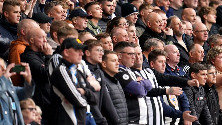Newcastle United fans in the stands during the Premier League match at Molineux Stadium
