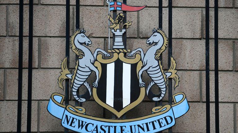 Newcastle United logo outside the club's stadium St James' Park