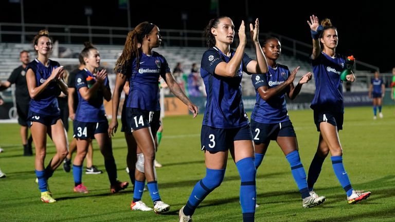 North Carolina Courage players following their victory over Louisville