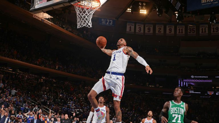 Obi Toppin #1 of the New York Knicks dunks the ball against the Boston Celtics on October 20, 2021 at Madison Square Garden in New York, New York.