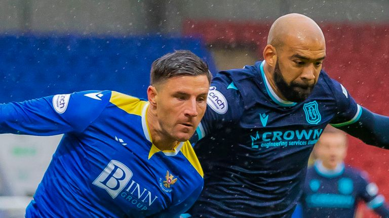 PERTH, SCOTLAND - OCTOBER 02: St Johnstone's Michael O'Halloran and Dundee's Liam Fontaine in action during the cinch Premiership match between St Johnstone and Dundee at McDiarmid Park on October 02, 2021, in Perth, Scotland. (Photo by Roddy Scott / SNS Group)