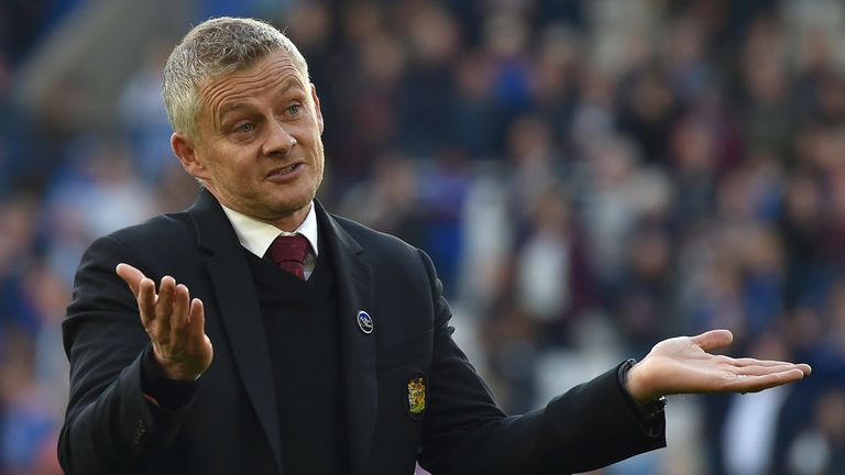 Ole Gunnar Solskjaer reacts after the 4-2 defeat to Leicester City (AP)