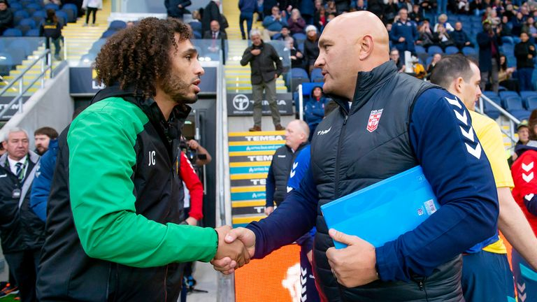 Jamaica lead coach Jermaine Coleman and Knights head coach Paul Anderson shake hands at the clash at Headingley in 2019