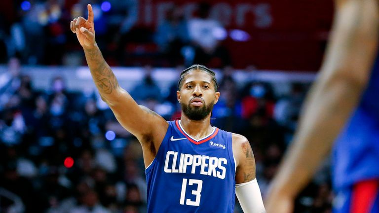 Los Angeles Clippers forward Paul George gestures during NBA basketball game against the Memphis Grizzlies