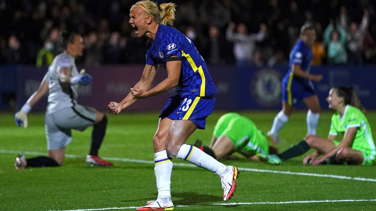 Chelsea's Pernille Harder celebrates scoring their side's third goal of the game during the UEFA Women's Champions League group A match at Kingsmeadow, Kingston. Picture date: Wednesday October 6, 2021.