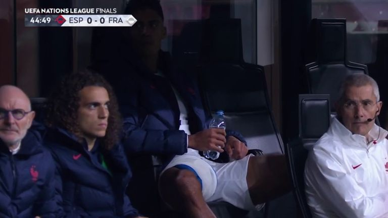 Raphael Varane was seen with ice on his right thigh after being withdrawn before half-time