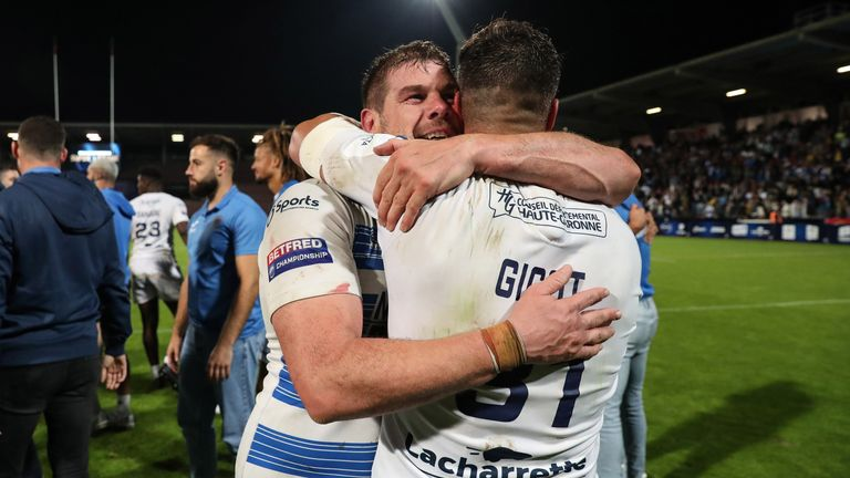 Remi Casty (L) and Tony Gigot of Toulouse celebrate victory
