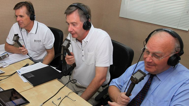 Laidlaw (right) commentating with Warren Humphreys (left) and Ken Brown (middle) for the Golf Channel in 2012