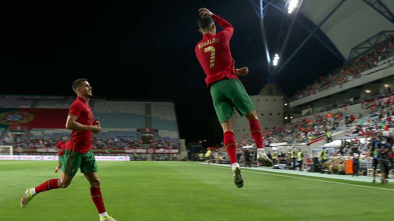 Ronaldo celebrates in his own inimitable style