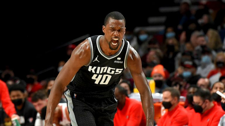 Sacramento Kings forward Harrison Barnes reacts after hitting a shot during the second half of the team's NBA basketball game against the Portland Trail Blazers in Portland, Ore., Wednesday, Oct. 20, 2021. The Kings won 124-121. (AP Photo/Steve Dykes)