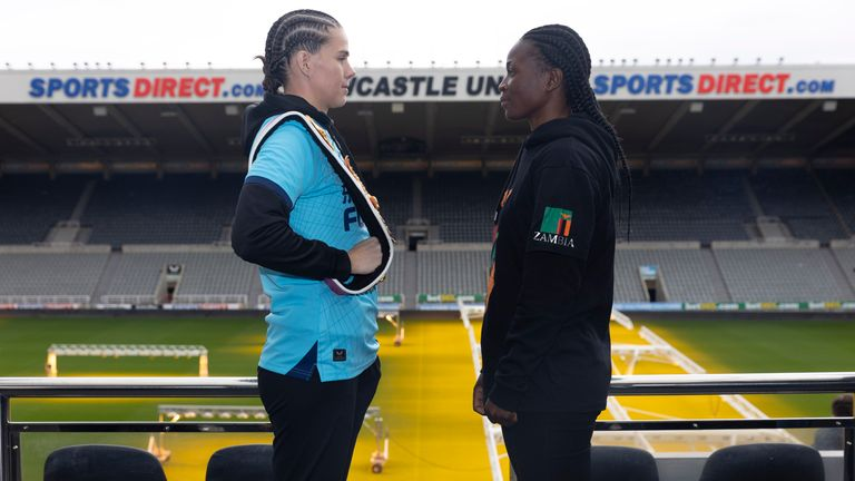CHAMPIONSHIP BOXING PRESS CONFERENCE.ST,JAMES...S PARK,.NEWCASTLE.PIC;LAWRENCE LUSTIG.SAVANAH MARSHALL  AND LOLITA MUZEYA    COME FACE TO FACE BEFORE THEY MEET ON THE BOXXER PROMOTION AT THE UTILITA ARENA ON SATURDAY NIGHT (16-10-21).