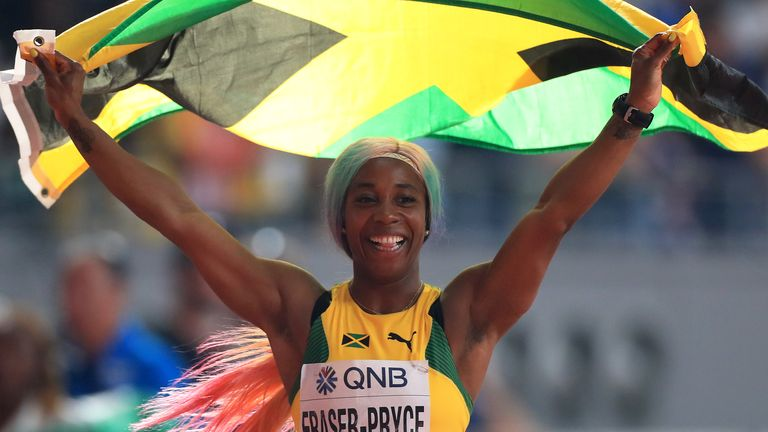 Shelly-Ann Fraser-Pryce celebrates winning World Championships sprint gold