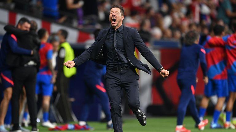 Atletico Madrid boss Diego Simeone celebrates his side's equaliser