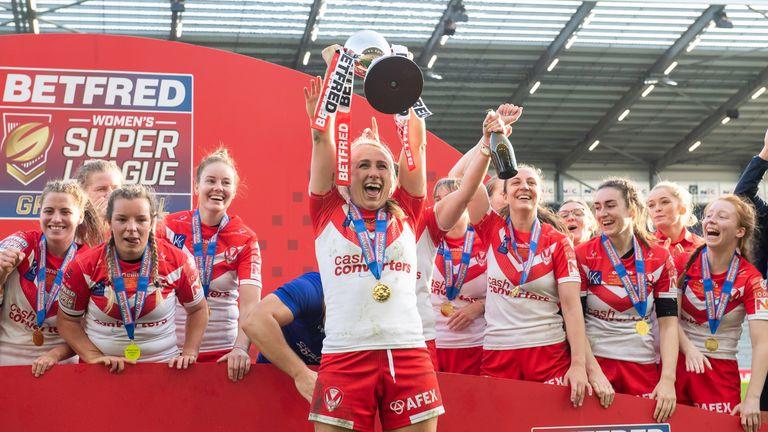St Helens' Jodie Cunningham lifts the Women's Super League trophy following their Grand Final triumph