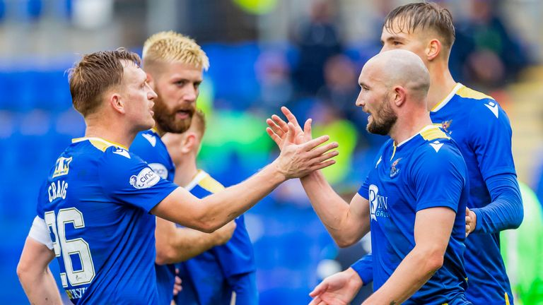 PERTH, SCOTLAND - OCTOBER 02: St Johnstone's Chris Kane celebrates with Laim Craig after scoring to make it 2-0 during the cinch Premiership match between St Johnstone and Dundee at McDiarmid Park on October 02, 2021, in Perth, Scotland. (Photo by Roddy Scott / SNS Group)