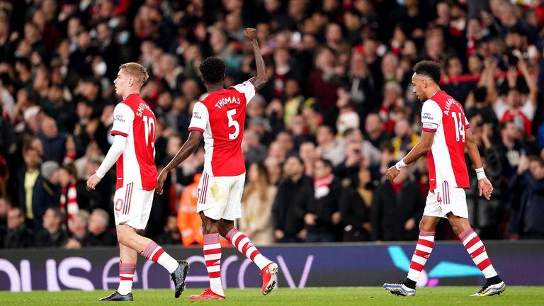 Thomas Partey salutes his first ever Arsenal goal