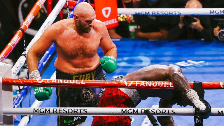 Tyson Fury knocks out Deontay Wilder during their WBC Heavyweight World Championship fight at T-Mobile Arena in Las Vegas Saturday, Oct. 9, 2021. WADE VANDERVORT