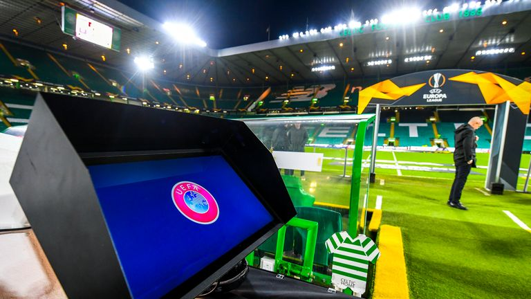 VAR Technology during the Europa League Round of 32, 2nd Leg match between Celtic and FC Copenhagen at Celtic Park