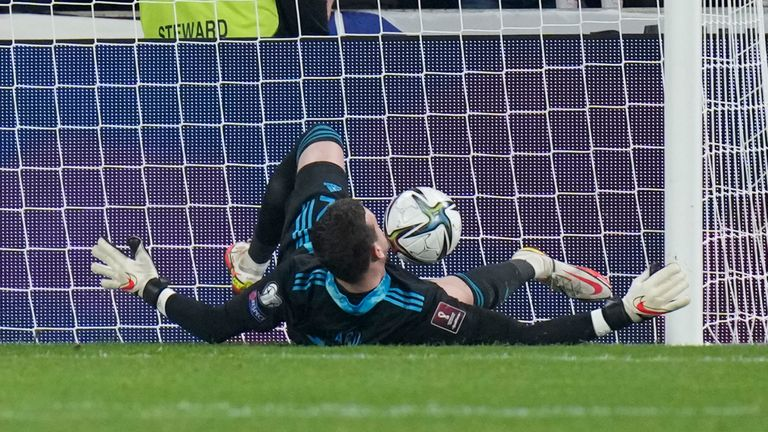 Wale's goalkeeper Danny Ward scores an own goal during the World Cup 2022 group E qualifying soccer match between Czech Republic and Wales, at the Sinobo stadium in Prague, Czech Republic, Friday, Oct. 8, 2021. (AP Photo/Petr David Josek)