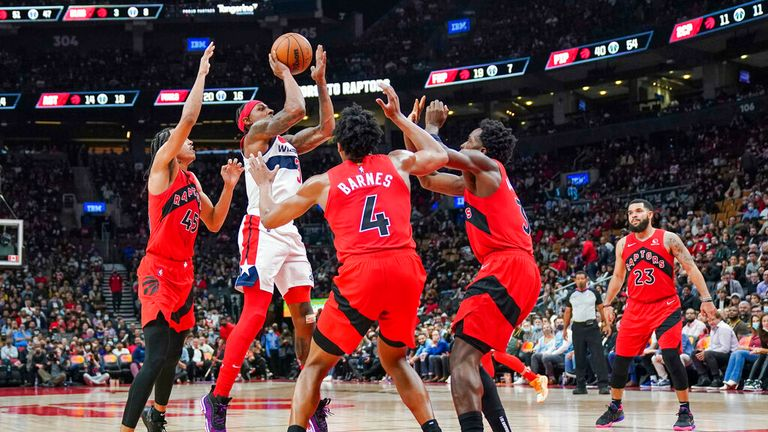 Washington Wizards guard Bradley Beal (3) shoots against the Toronto Raptors during the second half of an NBA basketball game Wednesday, Oct. 20, 2021, in Toronto. (Evan Buhler/The Canadian Press via AP)