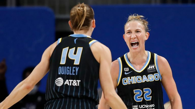 Allie Quigley and Courtney Vandersloot celebrate during the first round playoff victory against the Dallas Wings