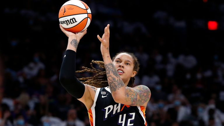 Phoenix Mercury center Brittney Griner (42) shoots against the Chicago Sky during the first half of Game 1 of the WNBA basketball Finals, Sunday, Oct. 10, 2021, in Phoenix. (AP Photo/Ralph Freso)
