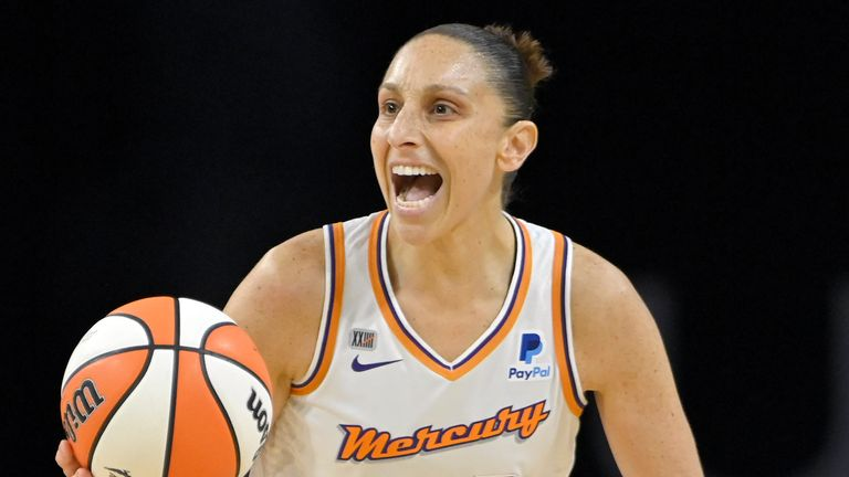 Phoenix Mercury guard Diana Taurasi (3) brings the ball up court against the Las Vegas Aces during the second half of Game 2 in the semifinals of the WNBA playoffs Thursday, Sept. 30, 2021, in Las Vegas.